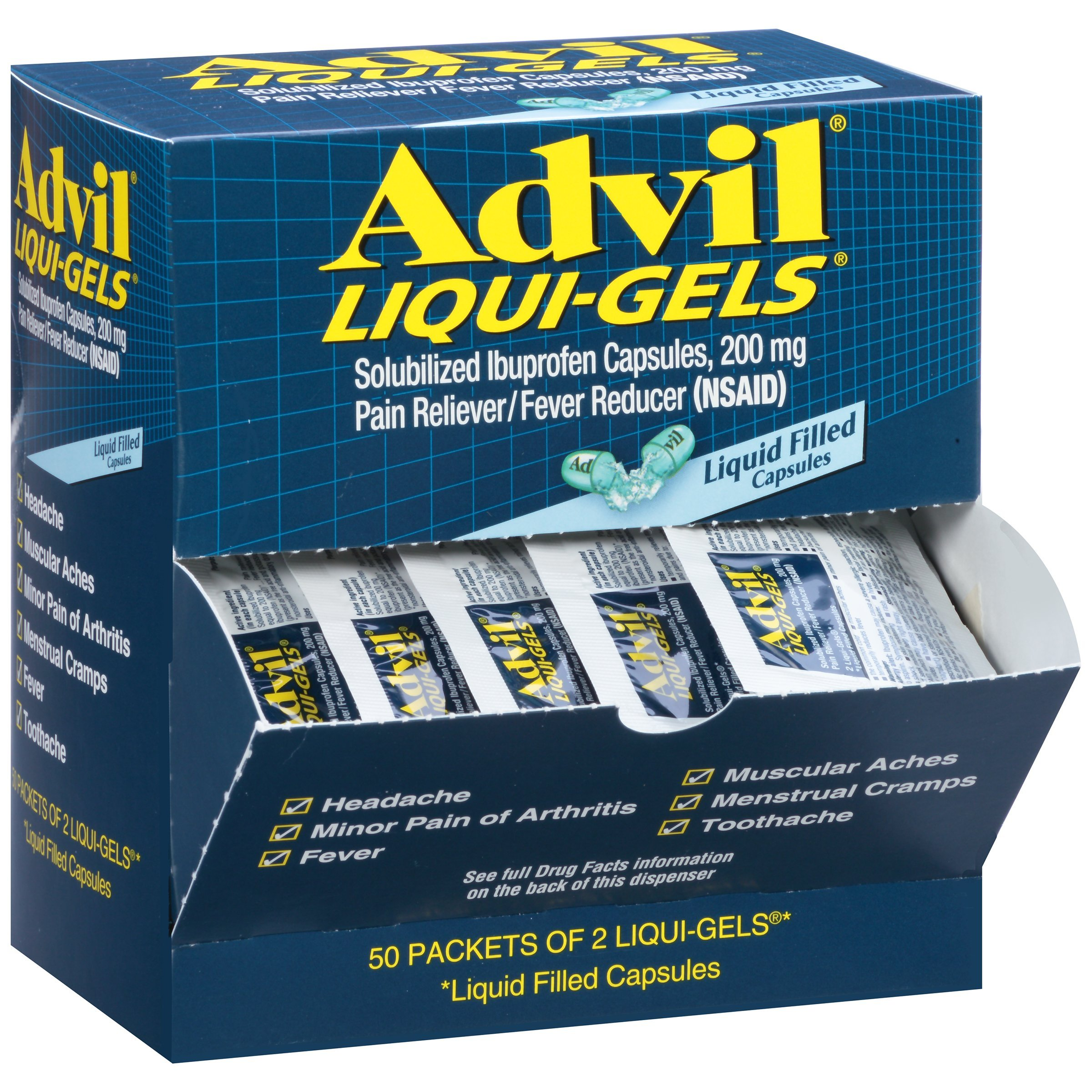 Advil Liqui-Gels Pain Reliever/Fever Reducer Liquid Filled Capsule Refill, 200mg Ibuprofen, Temporary Pain Relief (50 Packets of 2 Capsules)