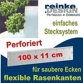 Reinkedesign Rasenkante aus Edelstahl Flexibel u. Perforiert, 100 cm ...