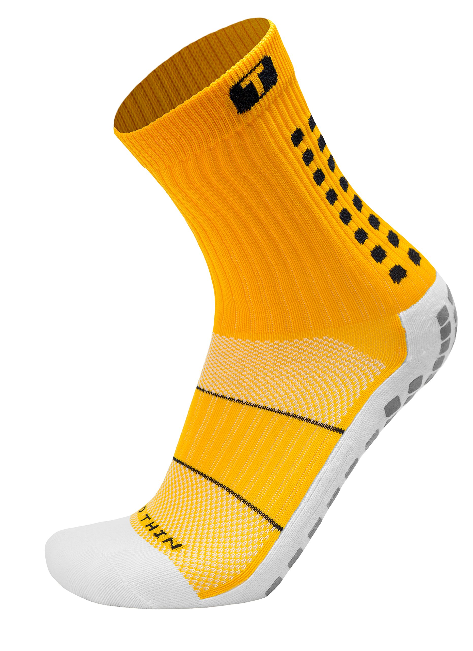 TRUSOX Mid-Calf Crew Thin Soccer   Football Socks (Pair) with Anti Slip Pads To Reduce Blisters, for Men and Women, Yellow, Small, Shoe Size US(M 3-6.5, W 4-7.5)