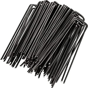 GardenMate 250-Pack 6'' 11 Gauge Heavy-Duty U-Shaped Garden Securing Stakes/Spikes/Pins/Pegs - Sod Staples for Anchoring Landscape Fabric