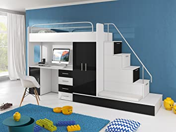 Etagenbett Mit Schreibtisch : Furnistad hochbett für kinder sun kinderhochbett mit treppe