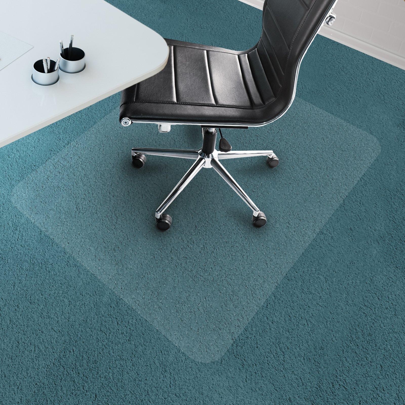 Office Marshal Chair Mat for Carpet Floors, PVC, Low/Medium Pile - 40'' x 48'', Multiple Sizes - Clear, Studded, Rectangular Carpet Floor Protection Mat
