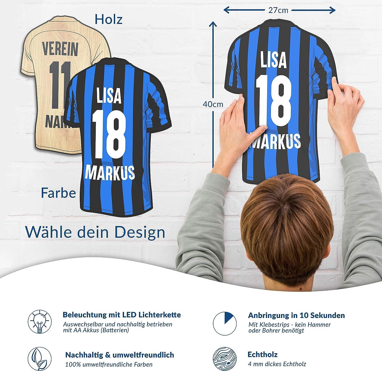 personalisierbares Geschenk schenke Dein individuellen Mannheim Fanartikel aus Holz Elbeffekt Trikotlampe f/ür Mannheim Fans aus Echtholz