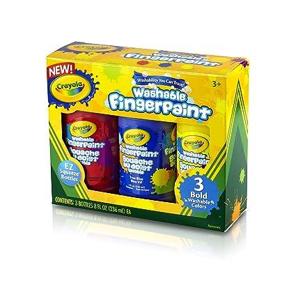 amazon com crayola 8 ounce primary washable fingerpaint 3 count