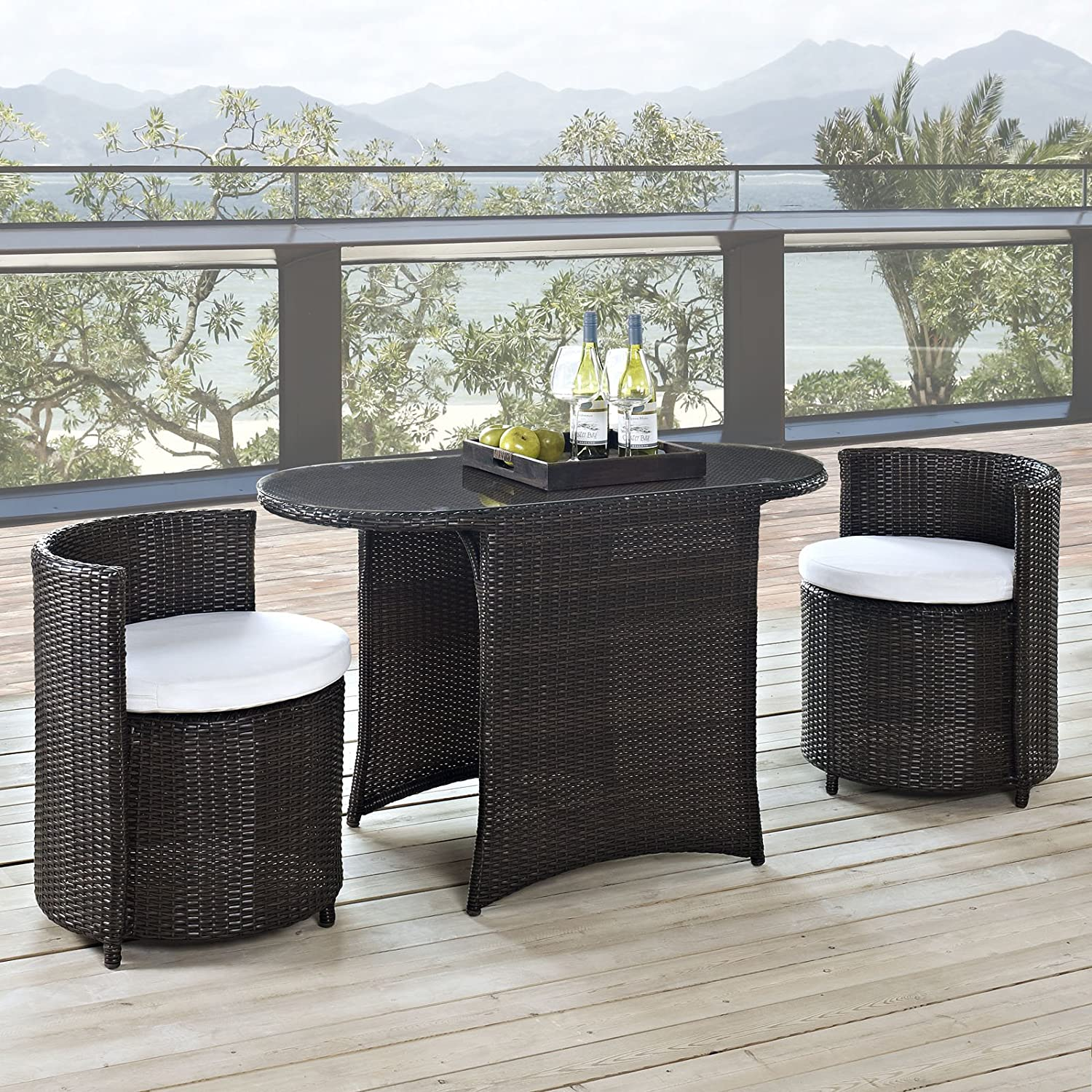 Amazon.com : LexMod Katonti 3 Piece Outdoor Wicker Patio Set With 2 Chairs  And 2 Tables : Outdoor And Patio Furniture Sets : Garden U0026 Outdoor