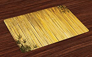Ambesonne Bamboo Place Mats Set of 4, Bamboo Stems and Leaves Oriental Nature Wood Image Natural Wildlife Theme, Washable Fabric Placemats for Dining Table, Standard Size, Yellow