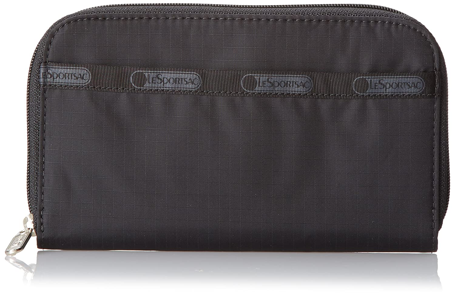 Black LeSportsac Lily Wallet, Black Crinkle Patent, One Size