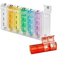 MEDca POP-U Organizador de píldoras semanales, caja individual y 4 compartimientos diarios