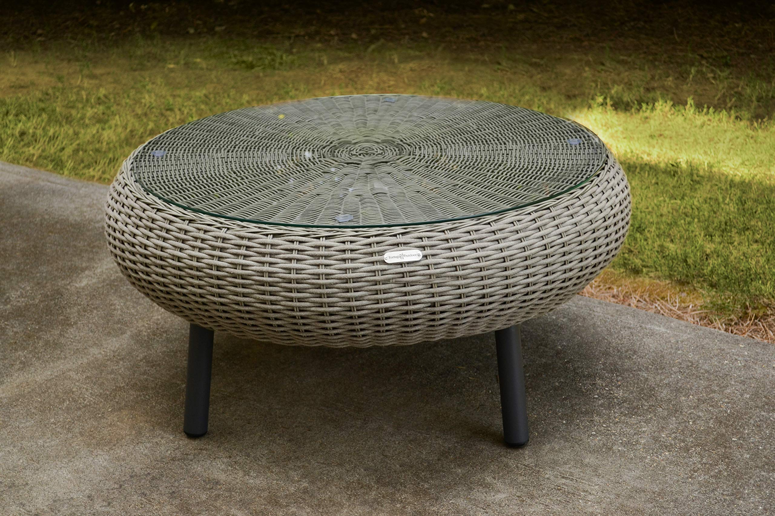 Tortuga Outdoor Round Low Wicker Table (Driftwood)