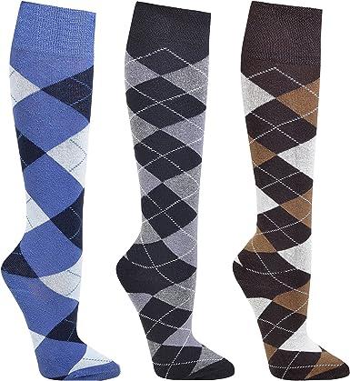 Chaussettes montantes motif à petits carreaux