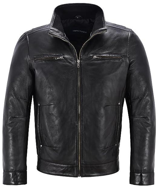 Mens Black Soft Retro Urban Biker Style Zipped Casual Bomber Real Leather Jacket