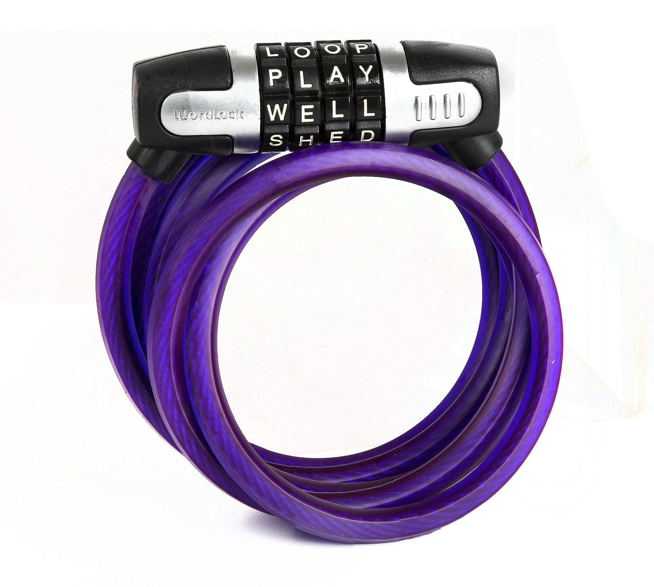 Wordlock Combination Bike Lock – 5 Feet, 4 Dial, Purple