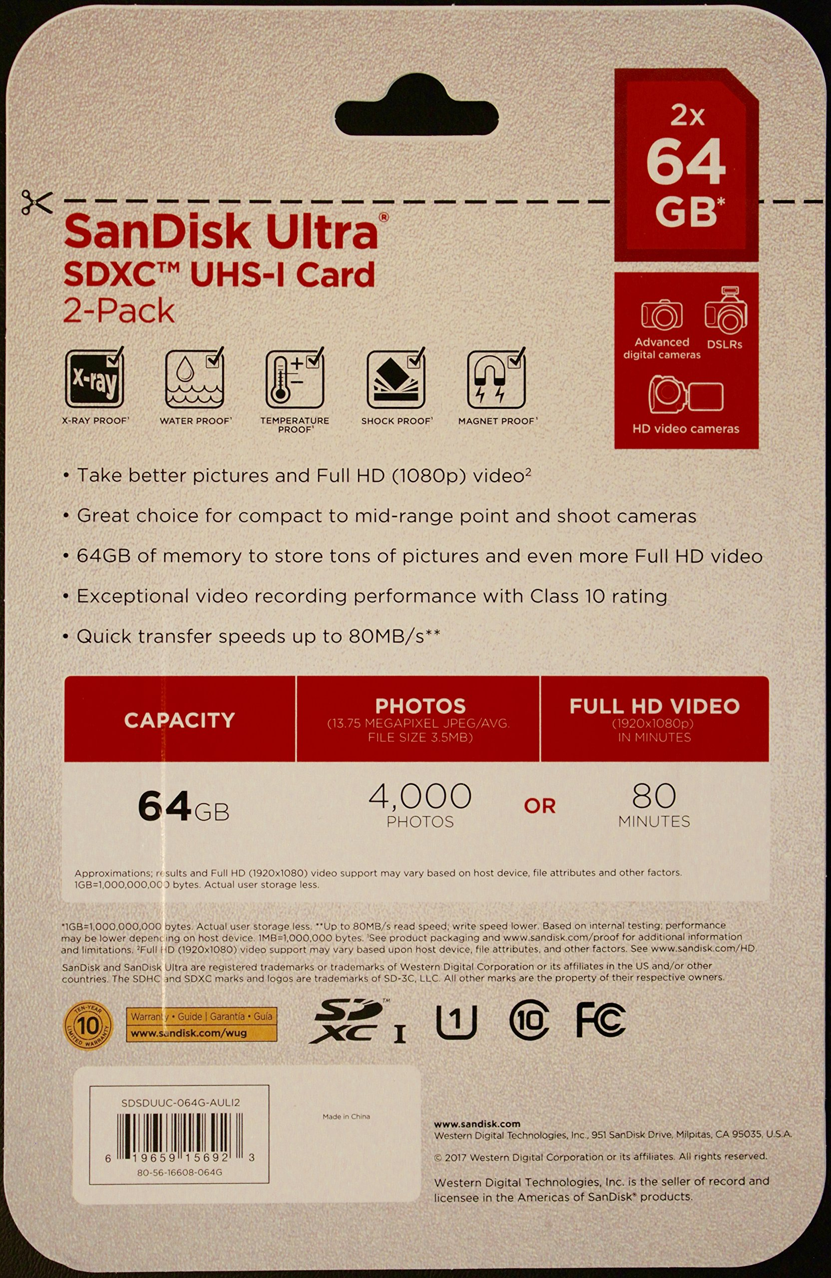 2 Pack SanDisk 64 GB Ultra UHS-I Class 10 SDXC SD Flash Memory Card Retail SDSDUNC-064G - With Everything But Stromboli (tm) MicroFiber Cleaning Cloth by SanDisk