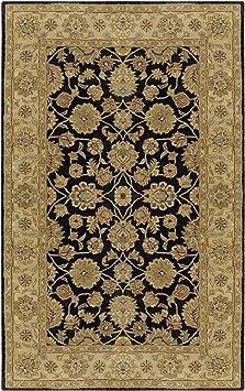 Amazon Com Surya Crowne Classic Hand Tufted 100 Wool Jet Black 6 X 9 Traditional Area Rug Furniture Decor