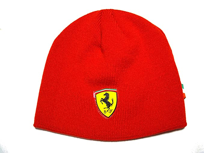 ba2e7176472 Image Unavailable. Image not available for. Colour  Ferrari Red Kids Beanie  - Knit Hat By Puma With Ferrari Shield Logo