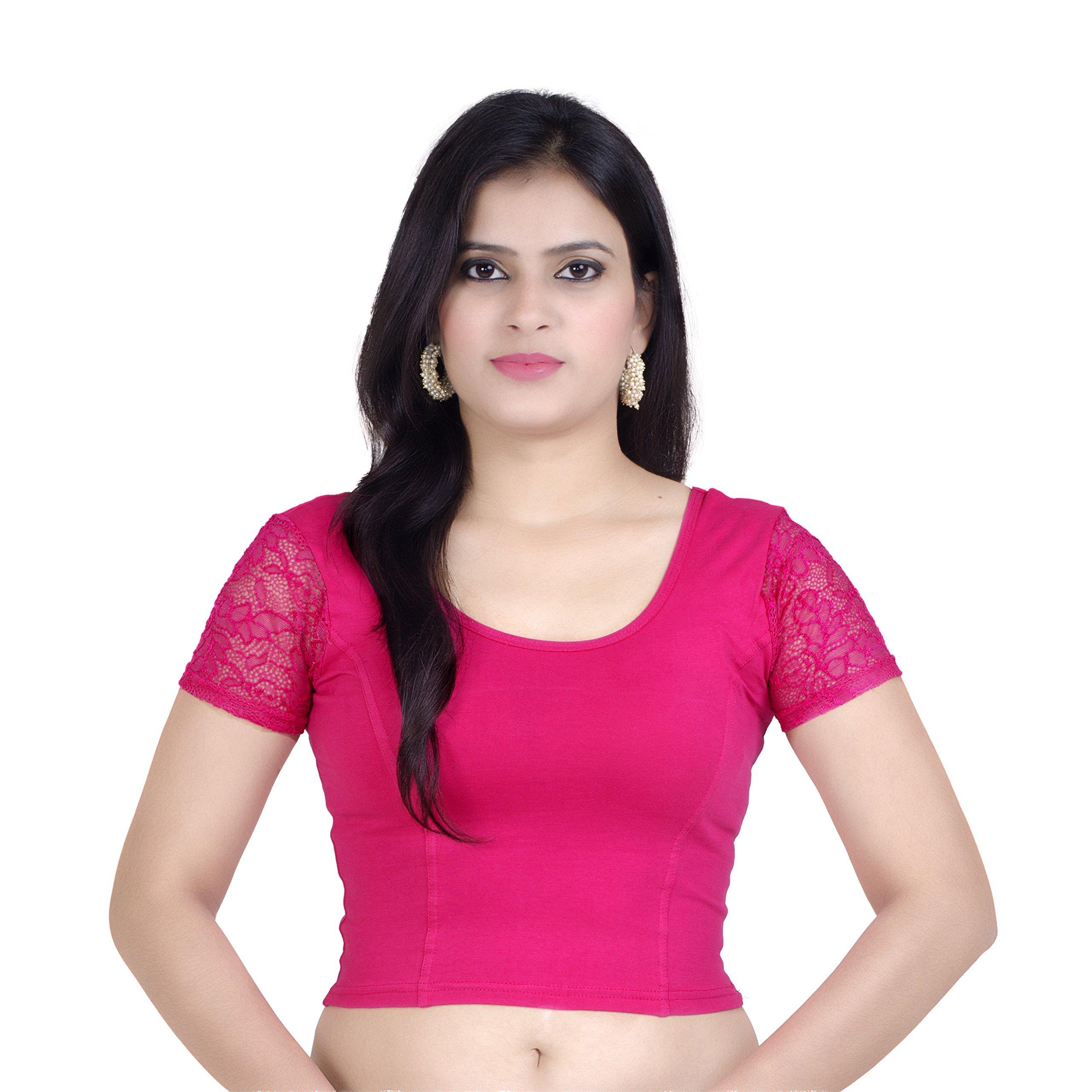 Chandrakala Womens Stretchable Readymade Pink Saree Blouse Crop Top Choli,Pink,Free Size