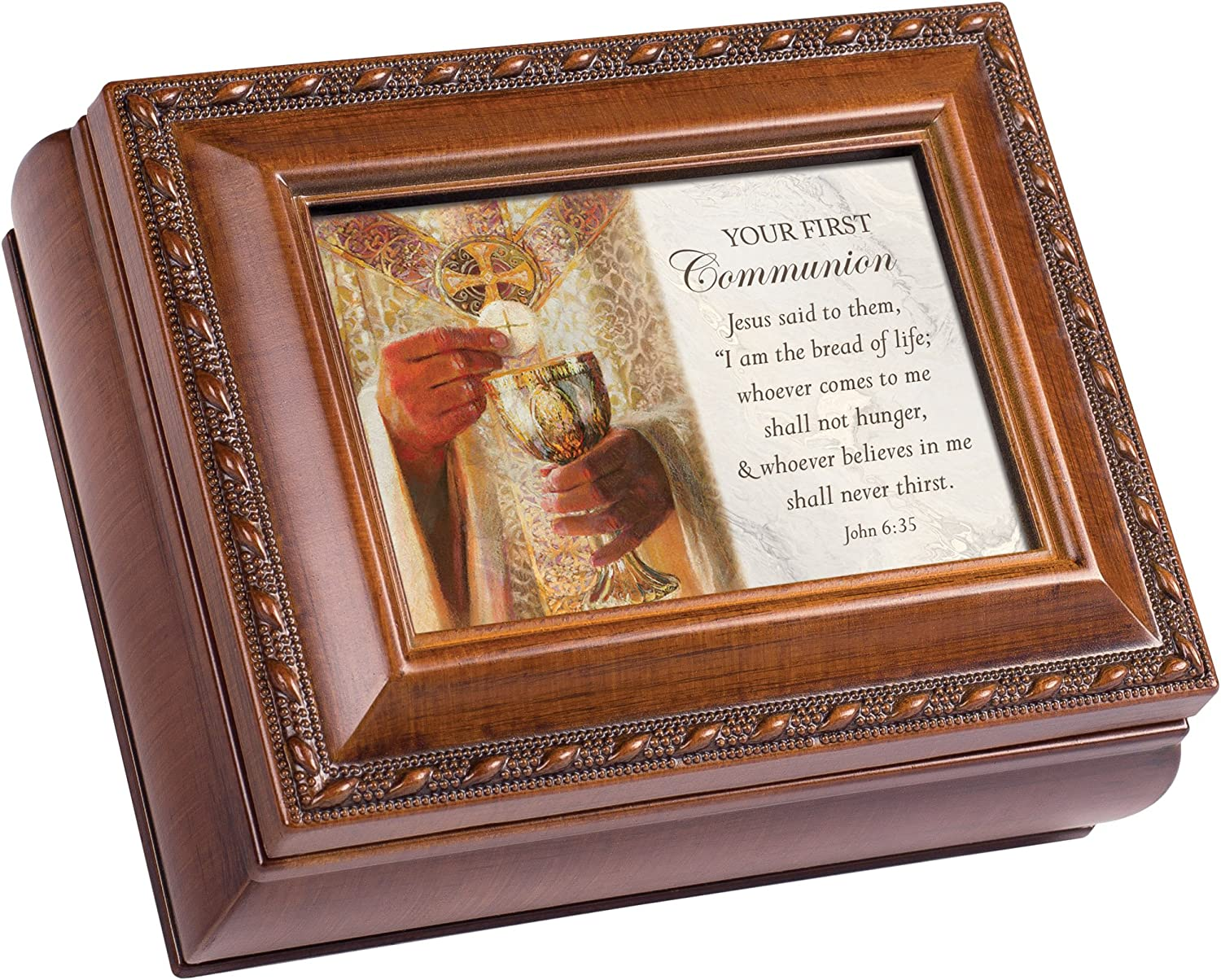 Cottage Garden Your First Communion Brown Rope Trim 4.5 x 3.5 Tiny Square Jewelry Keepsake Box