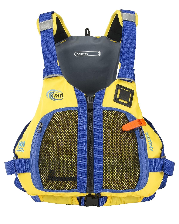 MTI AdventurewearレディースDestiny PFDライフジャケットwith adjust-a-bust Large Lemon Yellow/Blue B01MA1MRL8