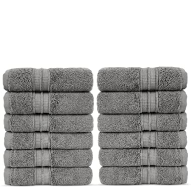 Luxury Premium Turkish Cotton 12-Piece Washcloths, Long-Stable 20/2, 2 Ply Turkish Ring-Spun Cotton Yarn Makes The Luxe-Factor, Eco-Friendly, (Gray)