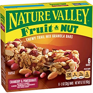 Nature Valley Fruit& Nut, Cranberry and Pomegranate, 1.1oz Bar 6 Ct, 6.7oz