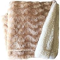 Plush Fleece Sherpa Backed Reversible Throw Blanket 130X160cm (Beige)