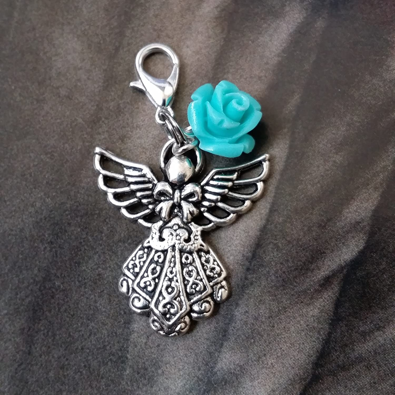 LOVELY SILVER GUARDIAN ANGEL IN LONG ROBE CLIP ON CHARM TIBETAN SILVER