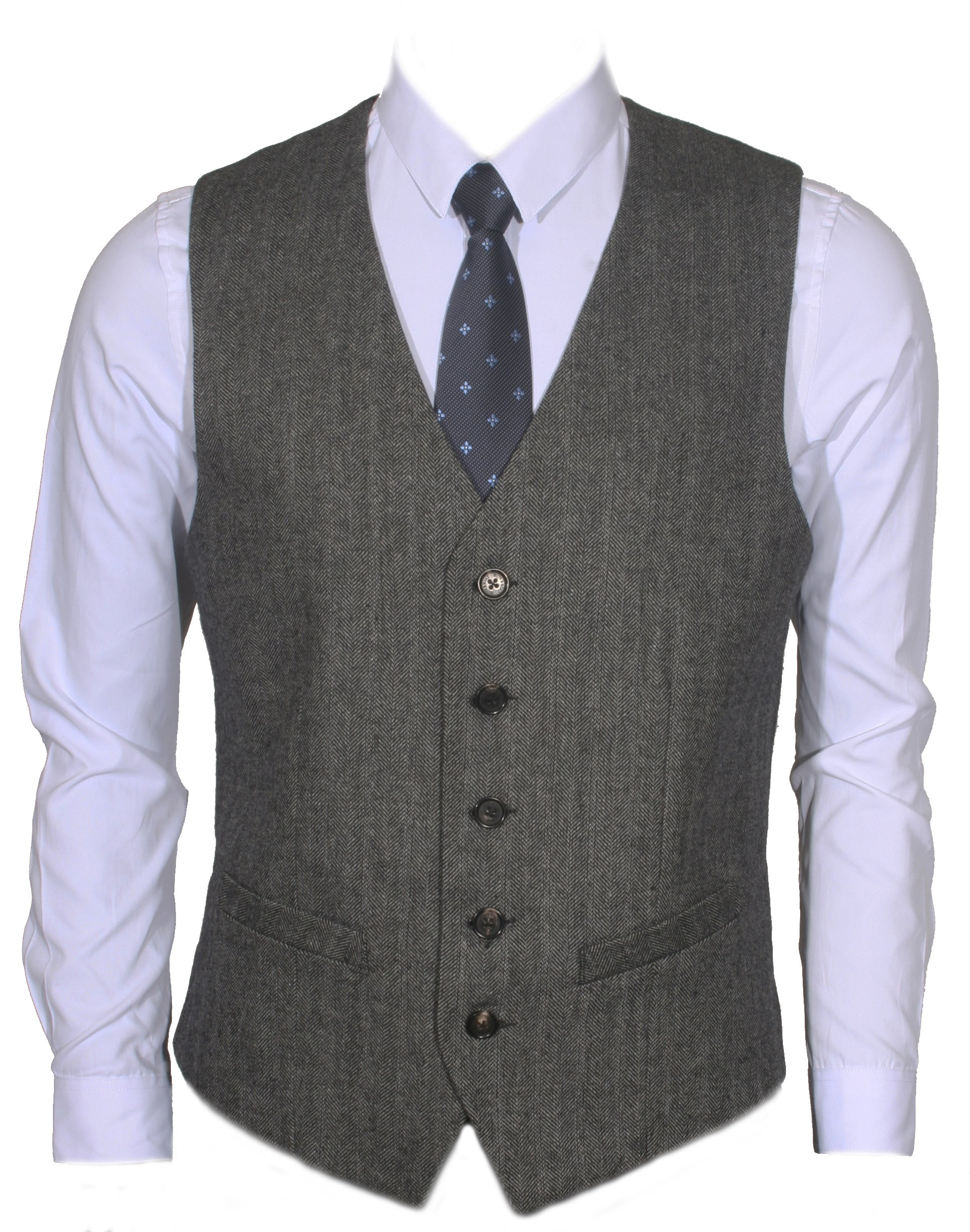 Ruth&Boaz 2Pockets 5Buttons Wool Herringbone Tweed Business Suit Vest (M, Herringbone Black) by Ruth&Boaz
