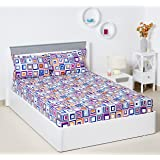 Bombay Dyeing Ambrosia 130 TC Cotton Double Bedsheet with 2 Pillow Covers - Multicolor