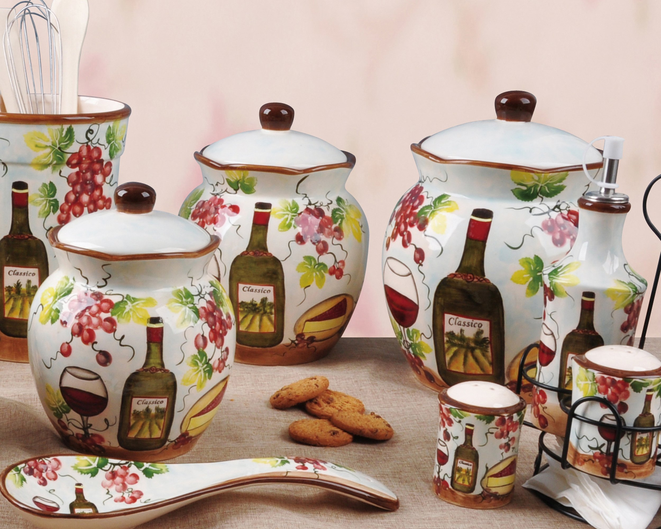 Lorren Home Trends P2069 Purple Grape Ceramic 3 Piece Deluxe Canister Set by Lorren Home Trends (Image #2)