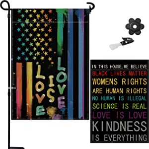 Tuoyi in This House We Believe Garden Flag, 18 x 12.5 Double Sided Painting 2 Layer Burlap for Love Peace Equality Inclusion, Outside Yard Sign Banner, Indoor & Outdoor Decorations