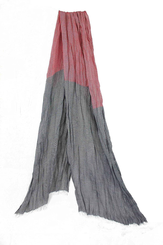 Echarpe Et/é Foulard Crinkle-Finish Crease Look Rouge Bleu 100/% coton