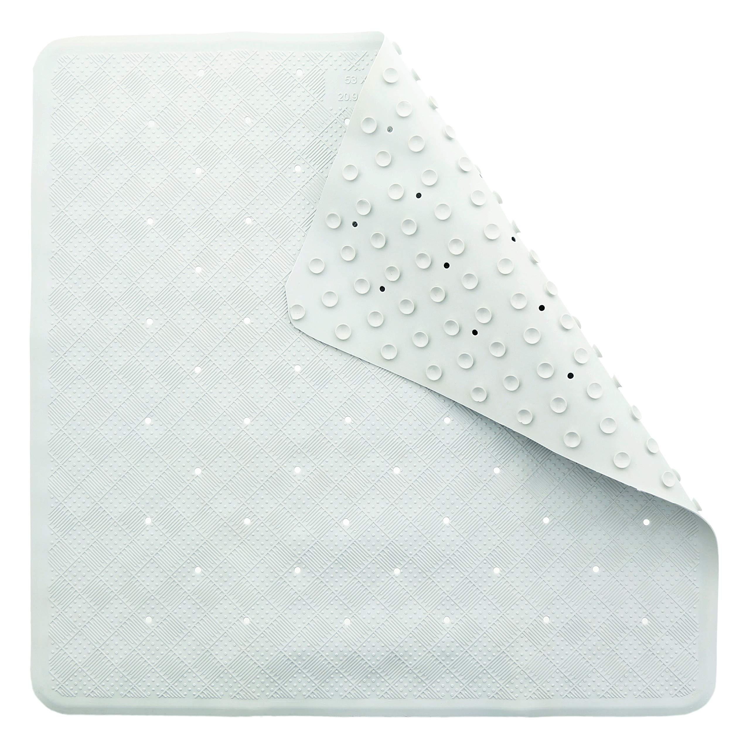 Bathsafe Anti-slip Square Pebbles Shower Mat Extra Large Anti-Bacterial Safety Bath Mat Suction Mat for Shower or Tub,Non-slip Bathtub Mat,54x54CM,Blue