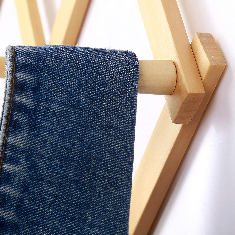 Dseap Accordian Wall Hanger: Wooden Coat Rack Wall Mounted Hat Racks for Baseball Caps Natural 13 Peg Hooks Mug Rack