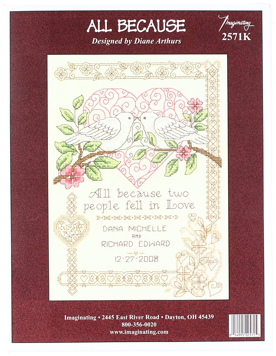 M /& R Technologies All Because All Because Wedding Record Counted Cross Stitch