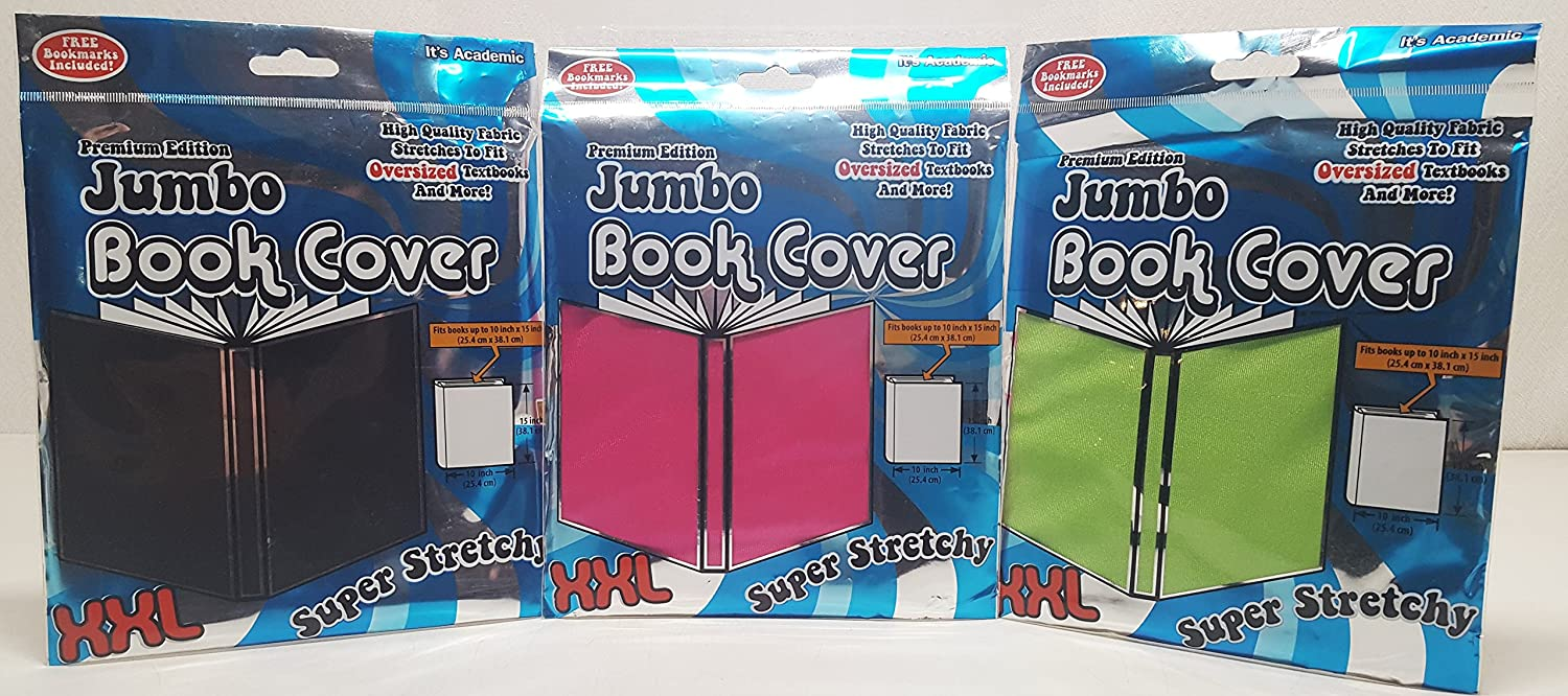 It's Academic Premium Edition XXL Jumbo Super Stretchy Book Cover 3 Pack Black Pink & Green Fits up to 10x15 Textbook It's Academic