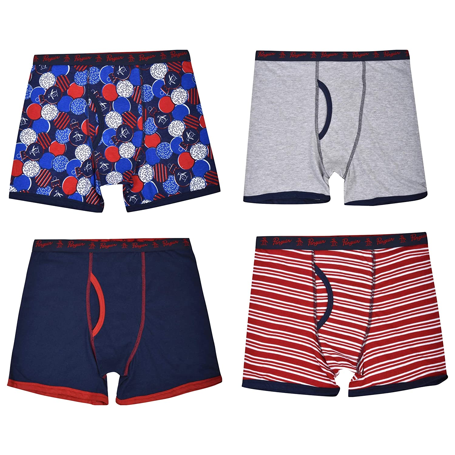 Original Penguin Boys 4-Pack Tagless Jersey Cotton Winter-Theme Printed Boxer Briefs Holiday Box Bonus!