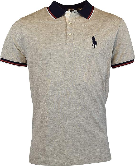 9adbaf59e8 Men s Short Sleeve Lightweight Mesh Custom Slim Fit Polo Shirt. Polo Ralph  Lauren Men s Custom Slim Fit Big Pony Polo Shirt - S - Grey Heather