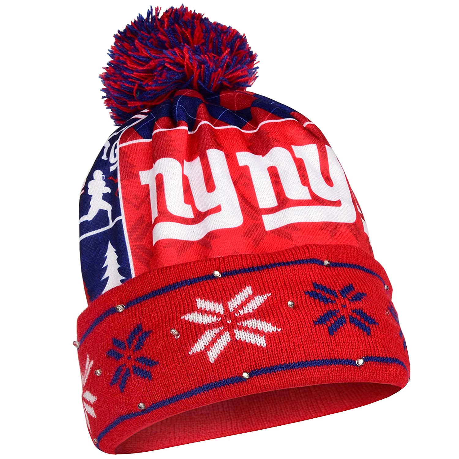 be3e0997800 Amazon.com   New York Giants Exclusive Busy Block Printed Light Up Beanie    Sports   Outdoors