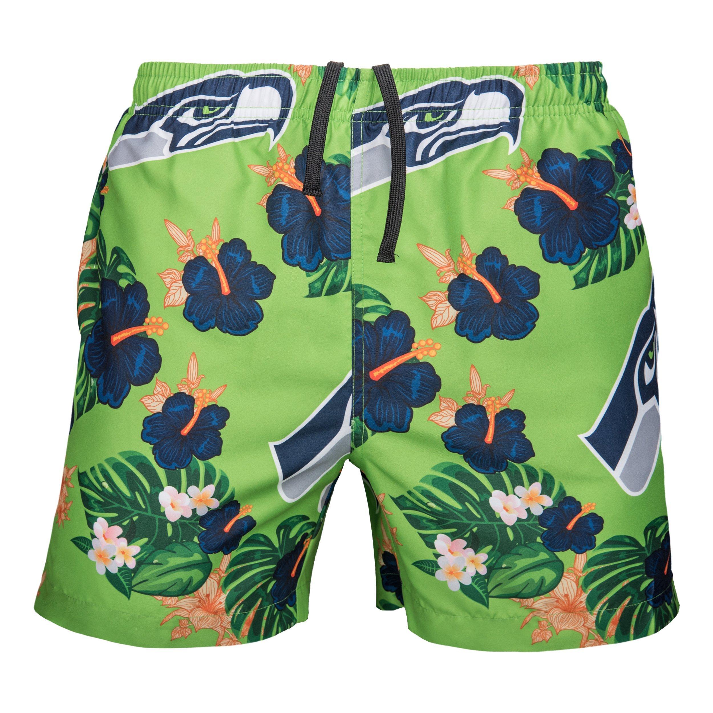 FOCO Men's Team Logo Floral Hawaiin Swim Suit Trunks, Color, XXL (36''-38'')