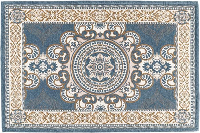 CHICHIC Indoor Door Mat for Home Entrance, Floor Mats for House Front Door Mat Indoor Inside Outdoor Outside Entryway Rugs Indoor Welcome Mat Anti-Slip Rubber Back Low Profile, 24 x 36 Inch, GrayBlue
