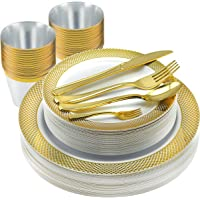 175 Pc Elegant Gold Plastic Dinnerware Set | Bundle Includes Plates, Spoons, Forks, Knives, Cups | High-End Disposable Party Supplies For Weddings, Housewarming, Graduation & Parties