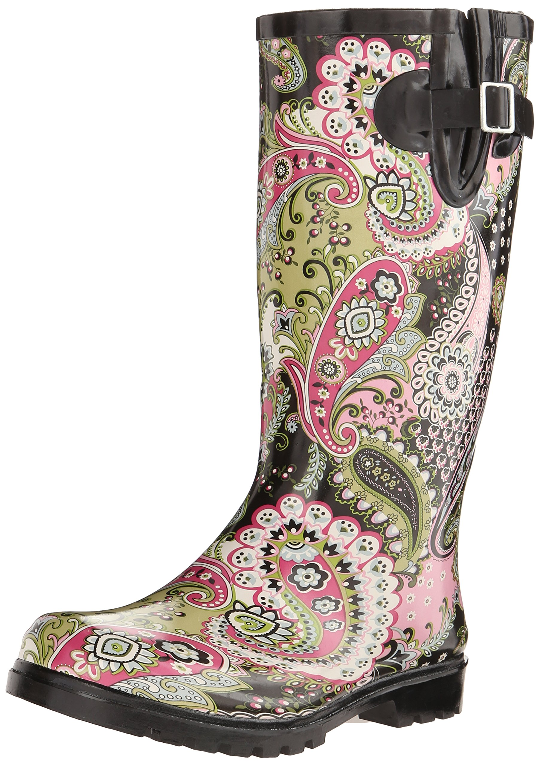 Nomad Women's Puddles Rain Shoe, Pink/Lime Paisley, 8 M US