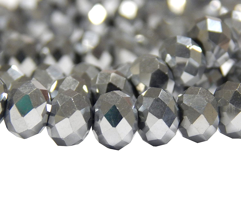 10 mm x 8 mm Creative-Beads X246-15 Perle di Cristallo sfaccettate Argento lucidato