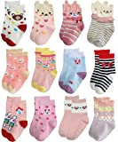 Deluxe RG-72225 Non Skid Cotton Crew Socks With Grips For Baby Toddler Girls