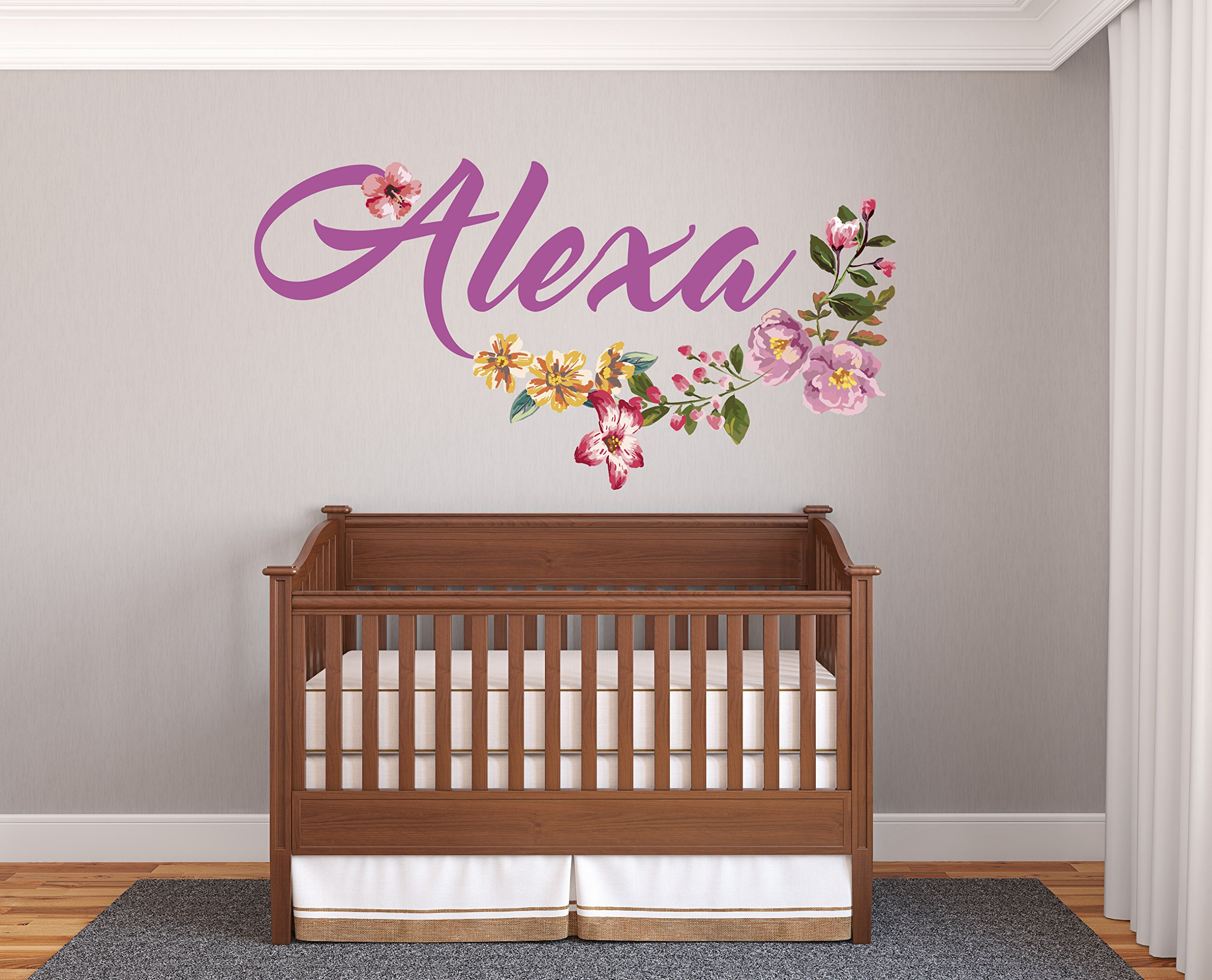 Custom Name Beautiful Flowers - Prime Series - Baby Girl - Nursery Wall Decal For Baby Room Decorations - Mural Wall Decal Sticker For Home Children's Bedroom (R10) (Wide 32''x17'' Height)