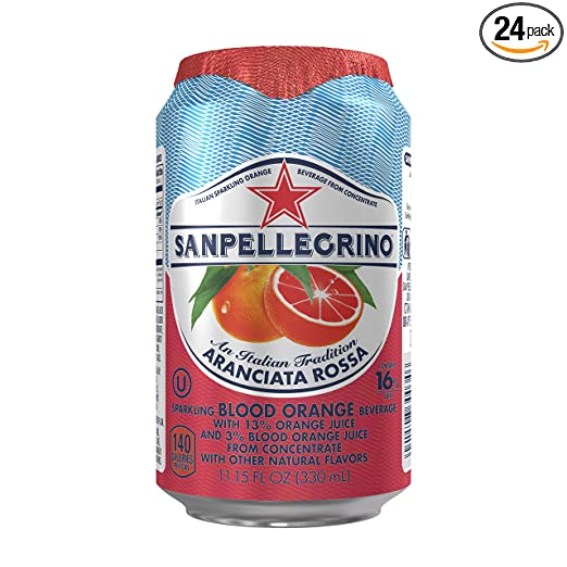 San Pellegrino Sparkling Fruit Beverages, Aranciata Rossa/Blood Orange 11.15-ounce cans (Total of 24)