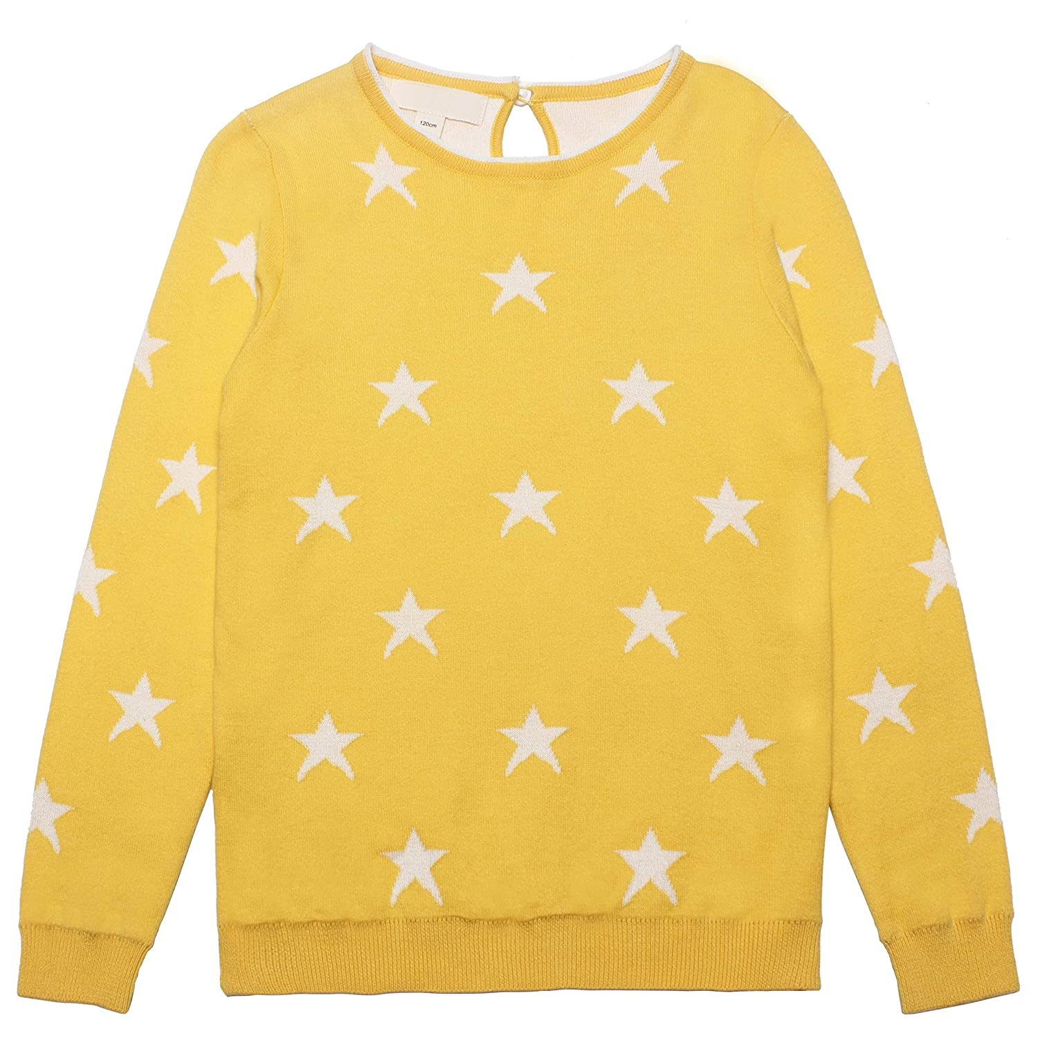 Mini Phoebee Little Girls Long Sleeve Crew Neck Cotton Knit Pullover Sweater with Cute Jacquard Star Pattern