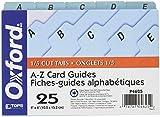 Oxford A-Z Index Card Guide Set, 4 x 6 Inches, Blue Pressboard, 25 per Set