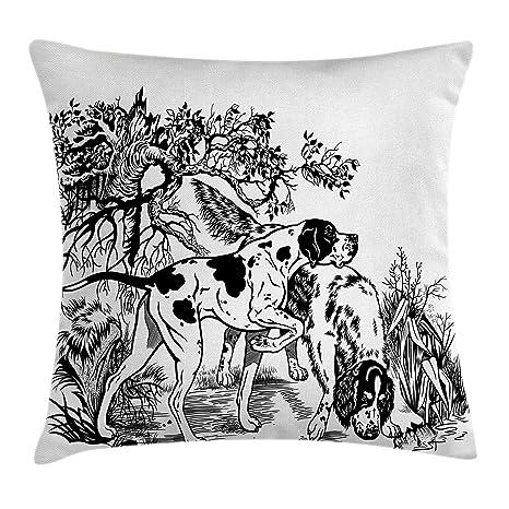 Caza Decor manta almohada Funda de cojín por Ambesonne, perros de caza en bosque Monocromo