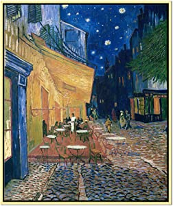 Wieco Art Framed Art Canvas Prints of Cafe Terrace at Night Canvas Prints Wall Art by Van Gogh Paintings Reproduction Abstract Artwork for Wall Decor Golden Frame VAN-0060_5060-GF